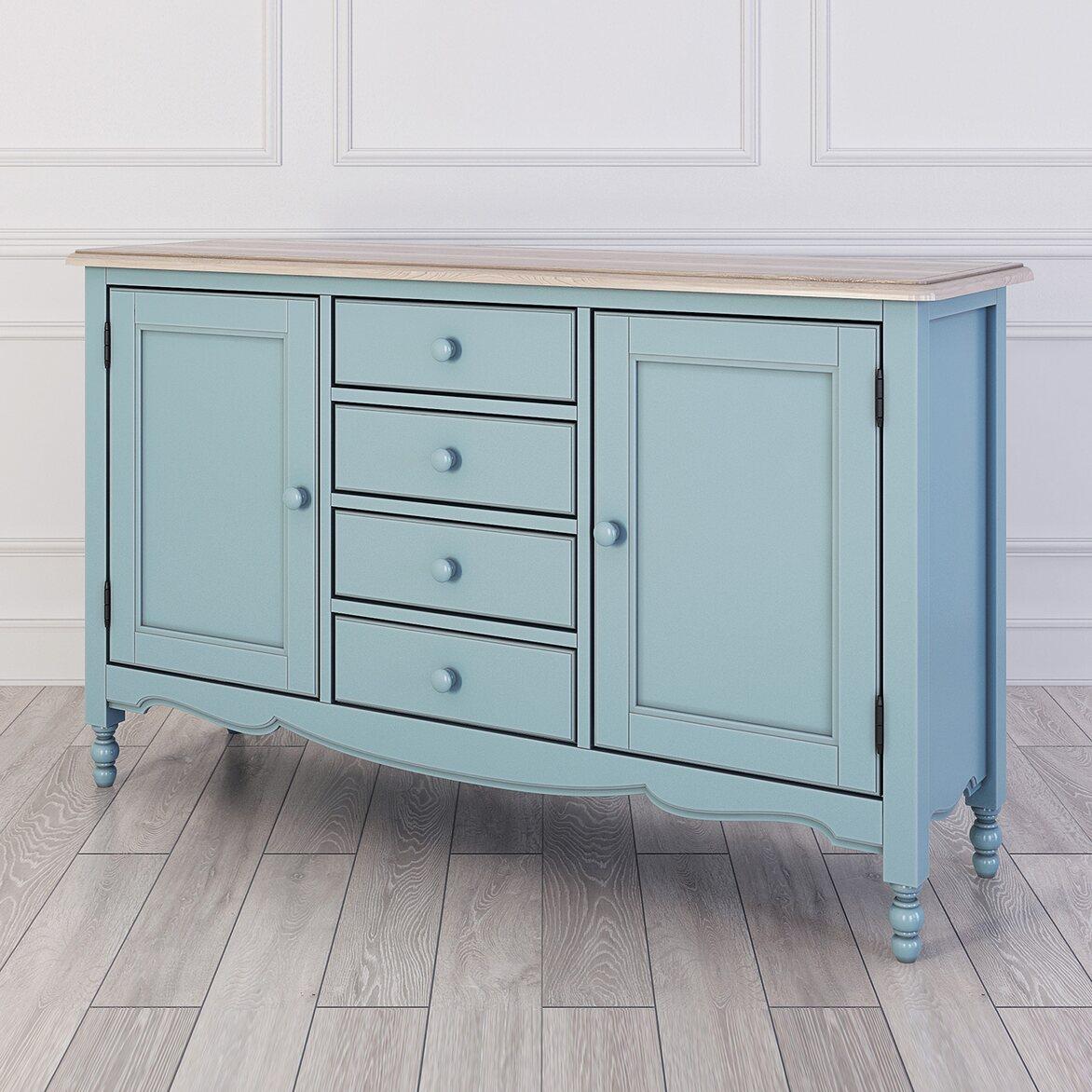 Буфет двухстворчатый с 4-я ящиками Leblanc, голубой | Буфеты Kingsby