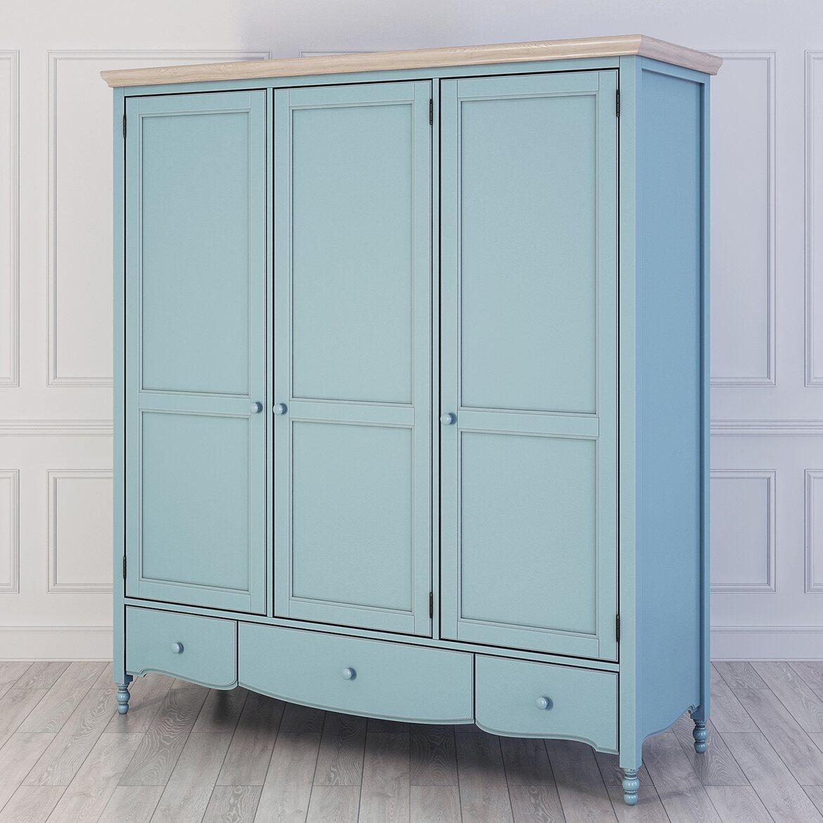Шкаф трехстворчатый Leblanc, голубой   Платяные шкафы Kingsby
