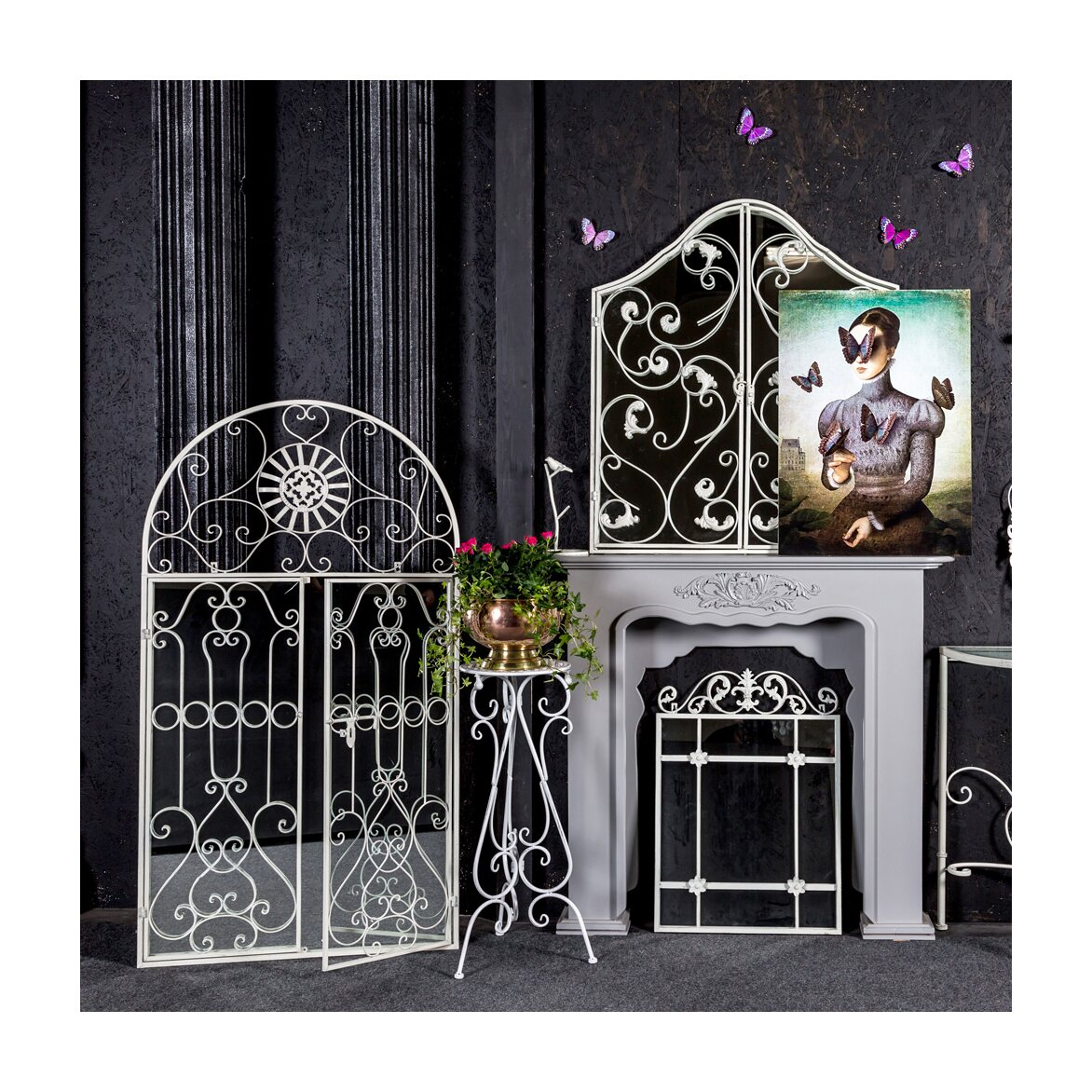 Настенное зеркало «Дивон» (белый антик) 4 | Настенные зеркала Kingsby