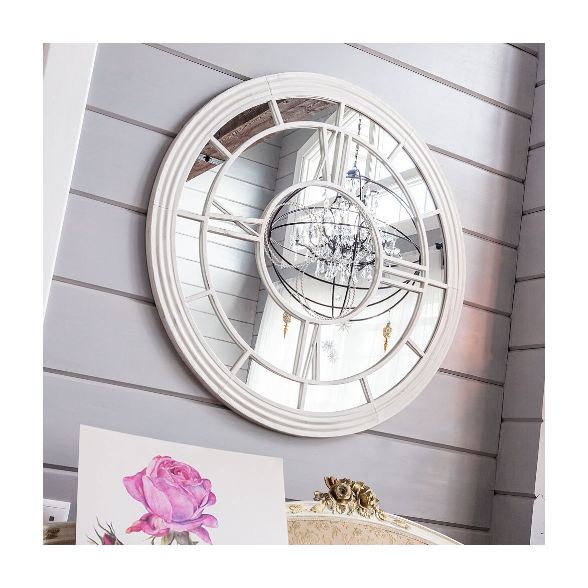 Настенное зеркало «Сен-Лазар» (белый антик) 10 | Настенные зеркала Kingsby