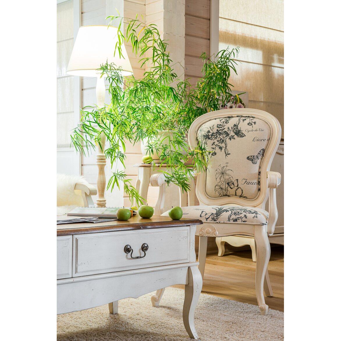 Полукресло с твердыми подлокотниками обивка с цветами Leontina, бежевого цвета 2   Кресло-стул Kingsby
