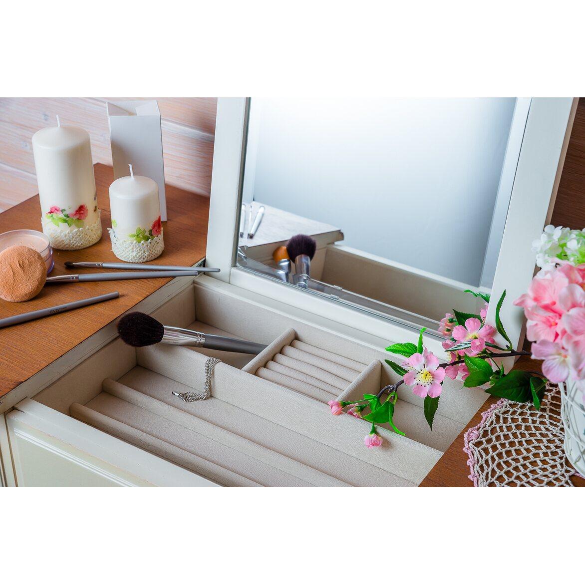 Туалетный столик с зеркалом Leontina, бежевого цвета 2   Туалетные столики Kingsby