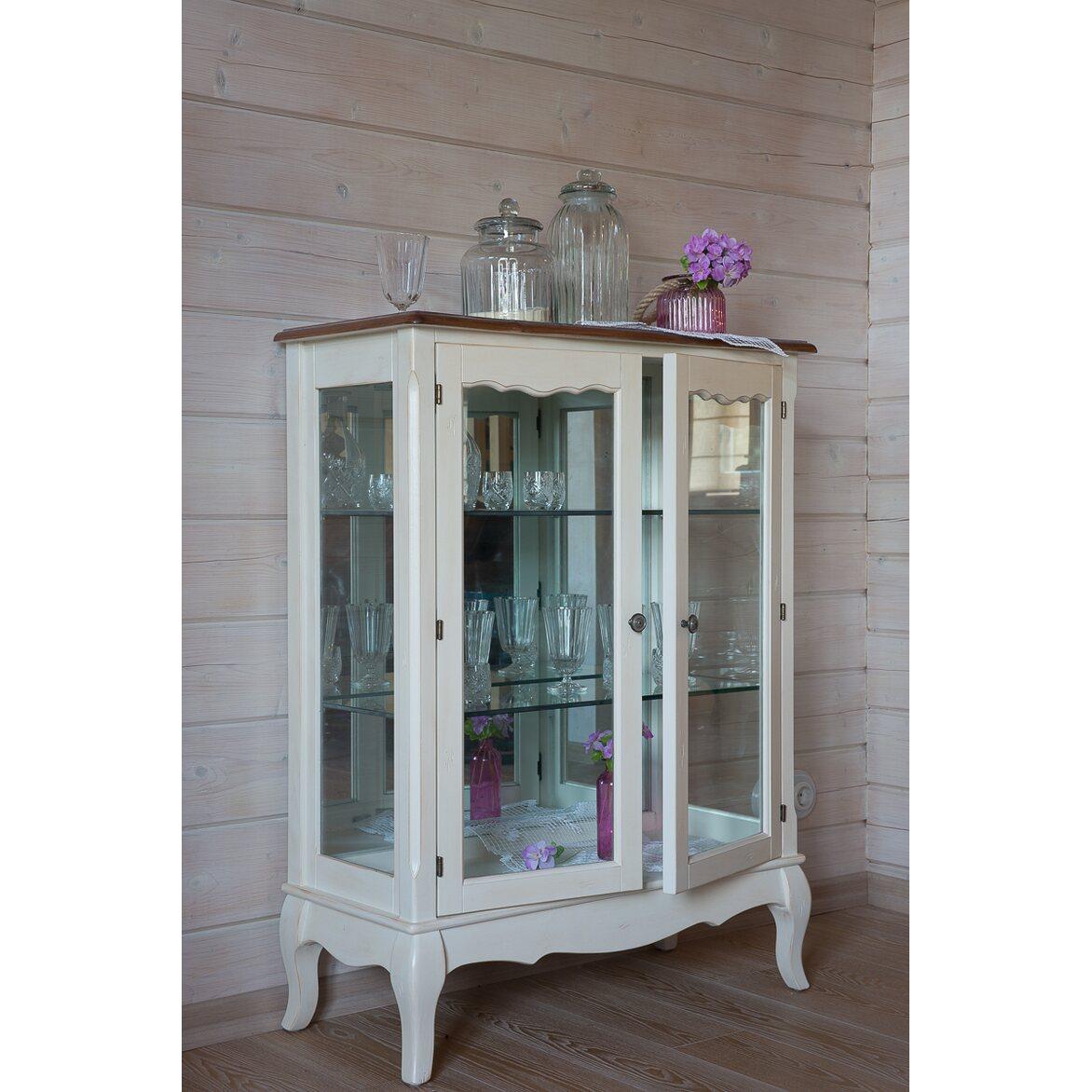 Стеклянная витрина (двойная) Leontina, бежевого цвета 2 | Витрины Kingsby