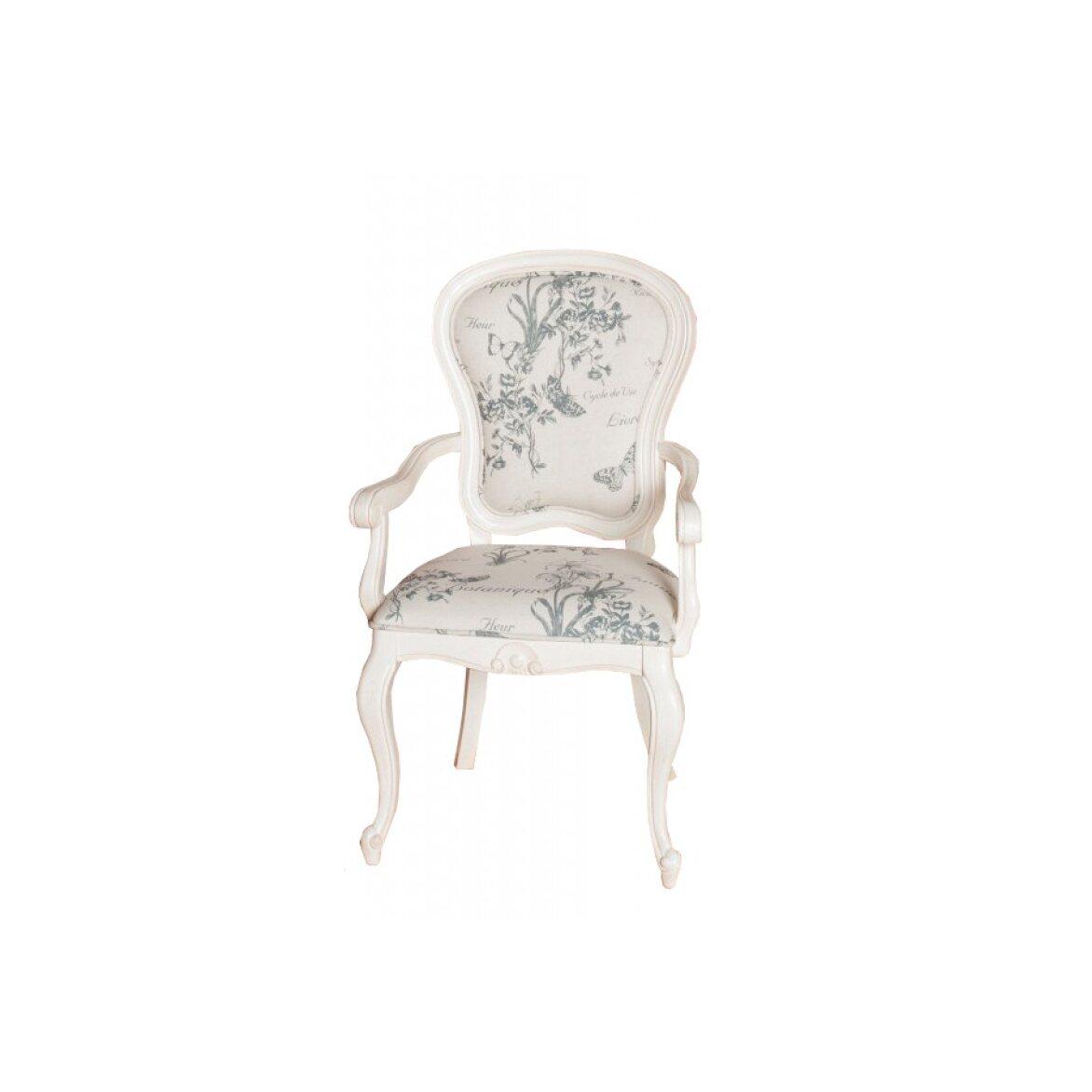 Полукресло с твердыми подлокотниками обивка с цветами Leontina, бежевого цвета 4   Кресло-стул Kingsby