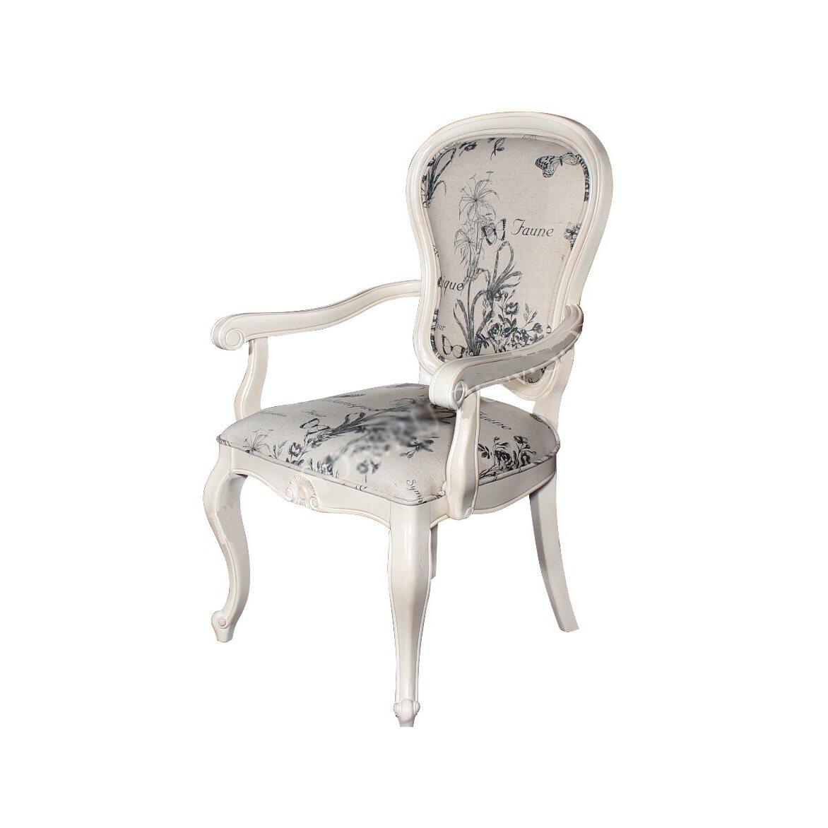 Полукресло с твердыми подлокотниками обивка с цветами Leontina, бежевого цвета   Кресло-стул Kingsby