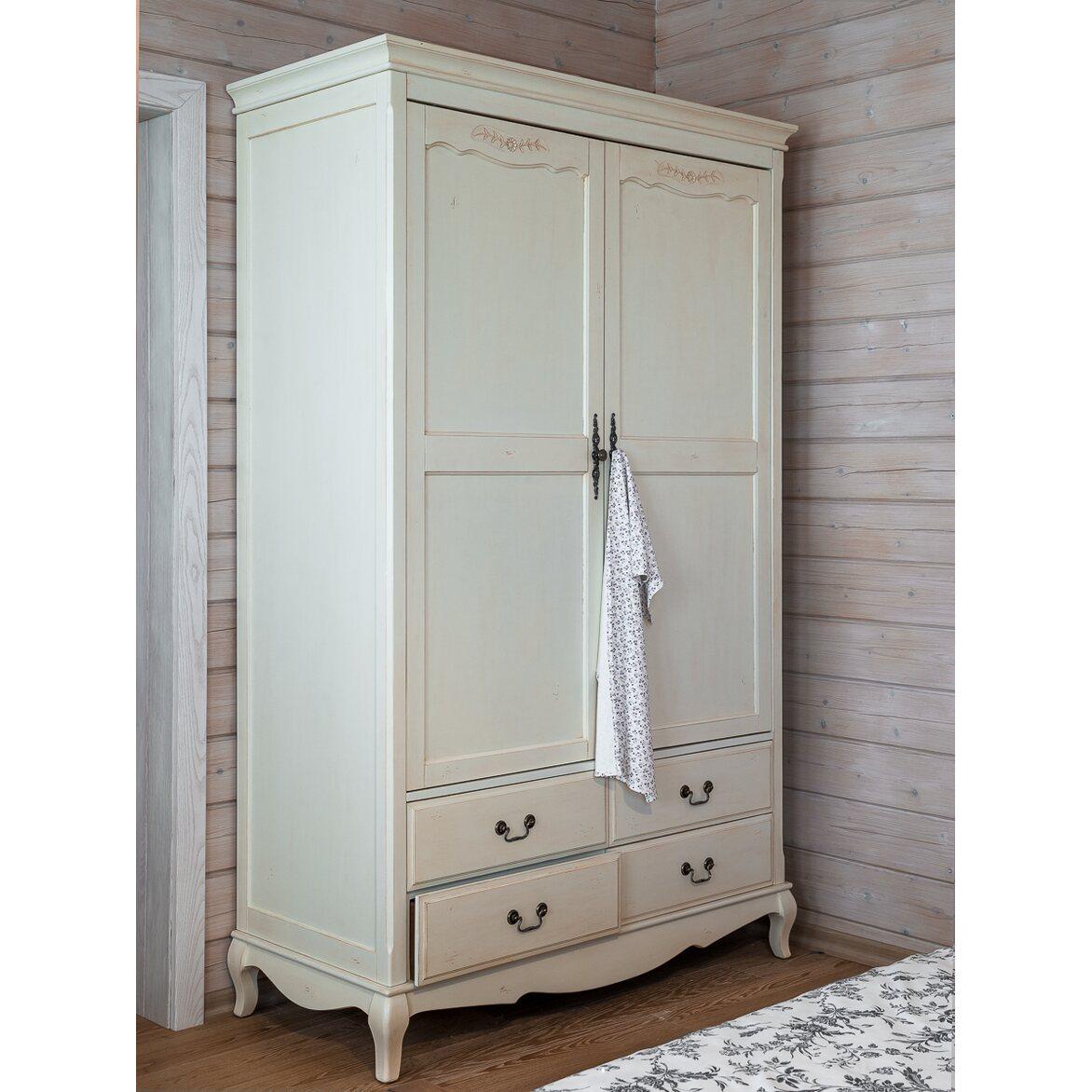 Шкаф двухстворчатый с 4-я ящиками Leontina, бежевого цвета | Платяные шкафы Kingsby