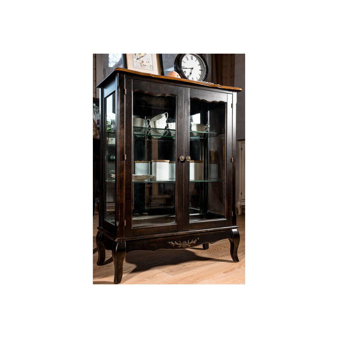 Стеклянная витрина (двойная) Leontina, черного цвета 5 | Витрины Kingsby