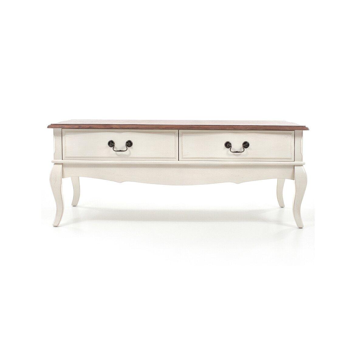 Чайный столик с 2-мя ящиками Leontina, бежевого цвета | Журнальные столики Kingsby