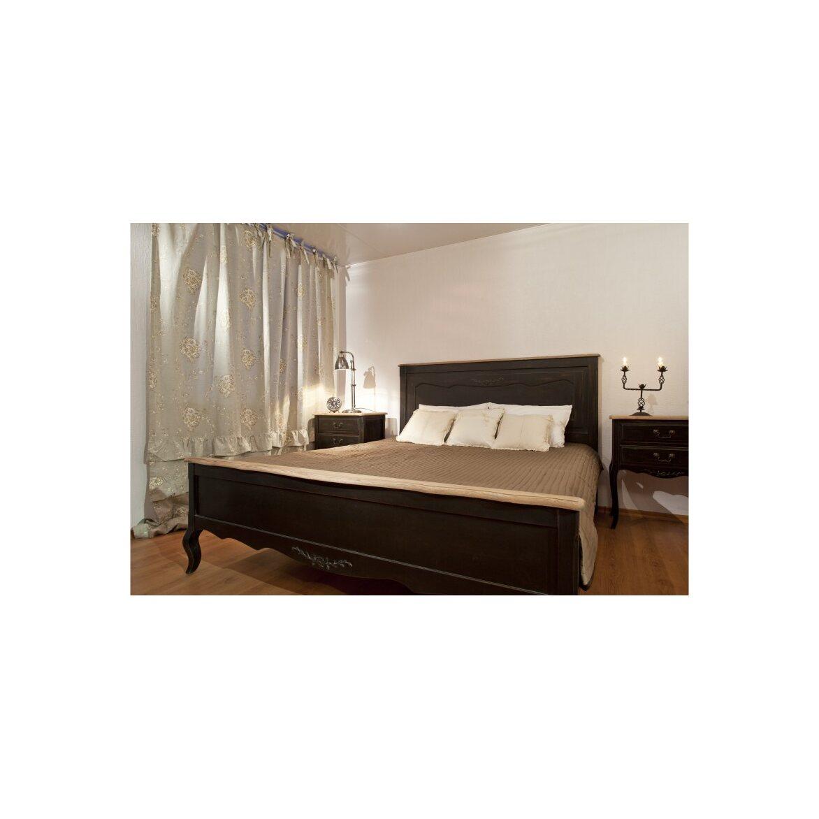 Кровать деревянная 160х200 Leontina, черного цвета 3 | Двуспальные кровати Kingsby