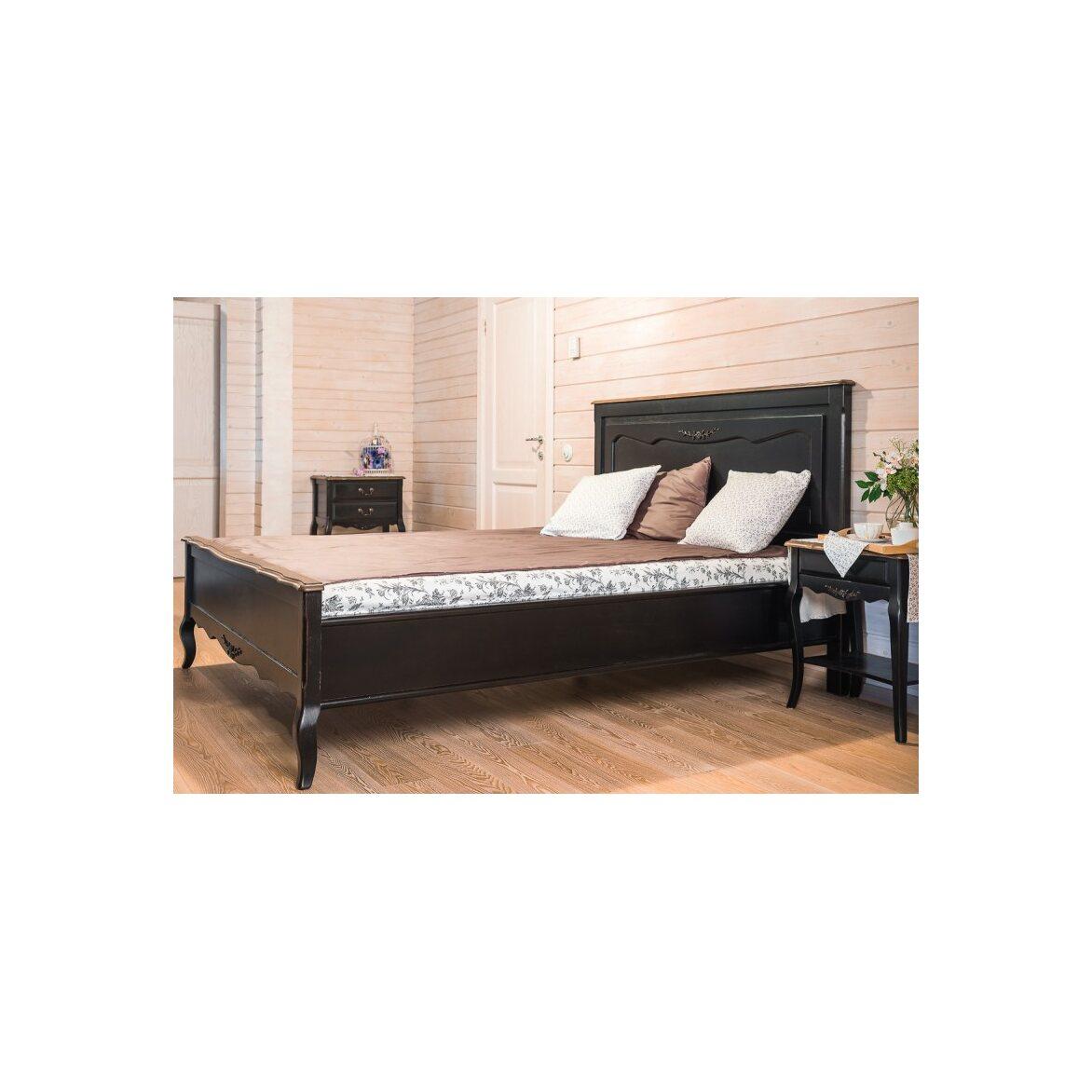 Кровать деревянная 160х200 Leontina, черного цвета 2 | Двуспальные кровати Kingsby
