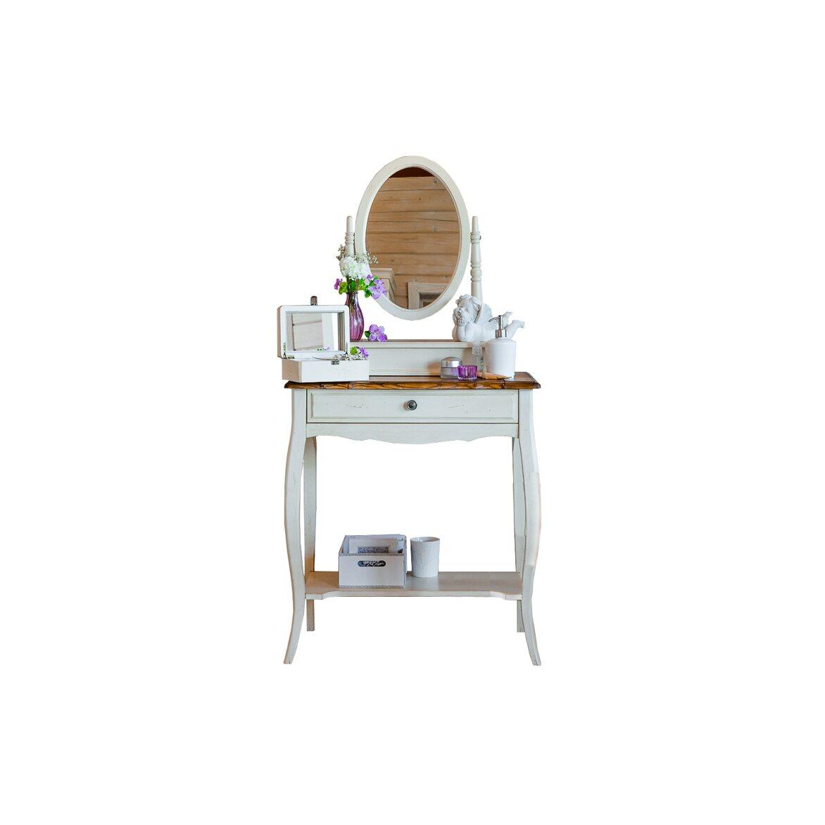 Туалетный столик с овальным зеркалом Leontina, бежевого цвета   Туалетные столики Kingsby