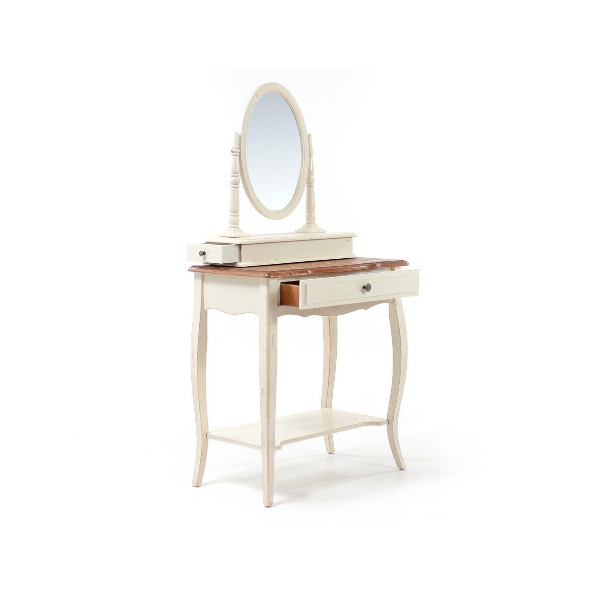 Туалетный столик с овальным зеркалом Leontina, бежевого цвета 5   Туалетные столики Kingsby