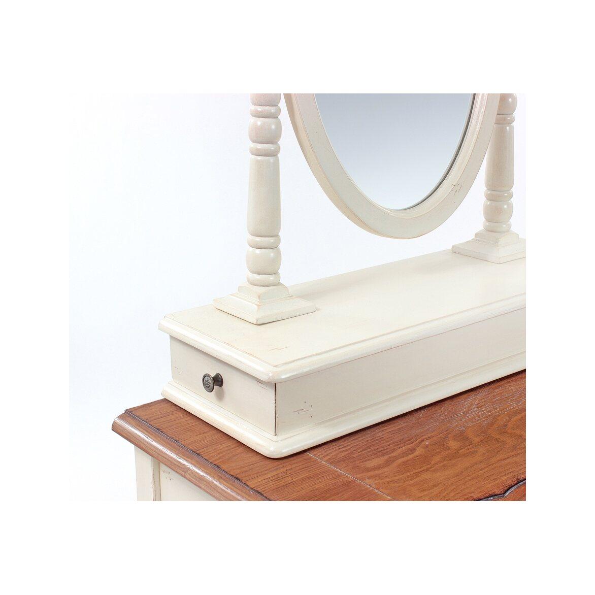 Туалетный столик с овальным зеркалом Leontina, бежевого цвета 8   Туалетные столики Kingsby