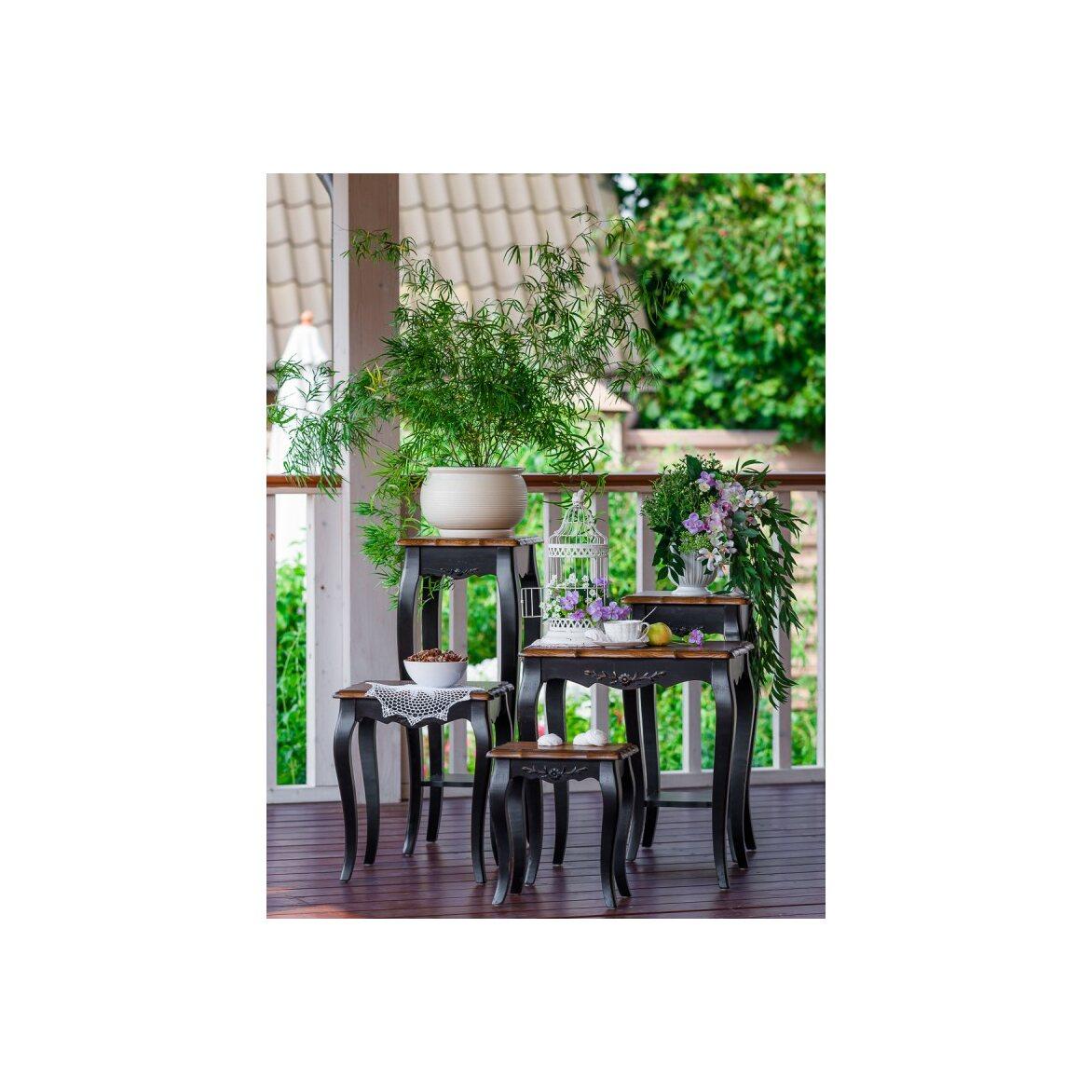 Консоль-подставка под цветы (низкая) Leontina, черного цвета 2 | Консоли Kingsby
