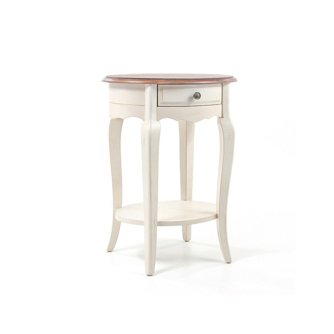 Прикроватная тумба овальная (приставной столик) Leontina, бежевого цвета | Прикроватные тумбы Kingsby