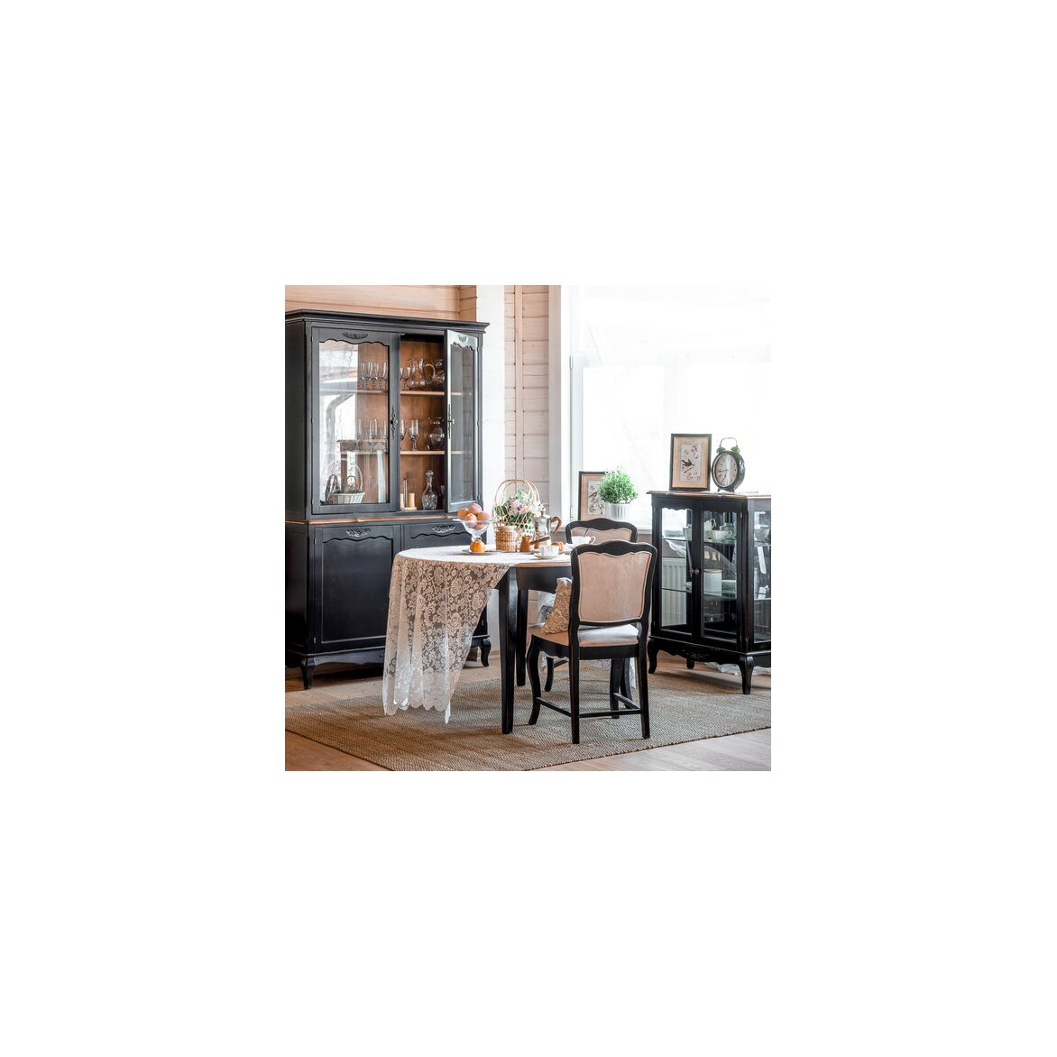 Круглый обеденный стол (большой) Leontina, черного цвета 5 | Обеденные столы Kingsby