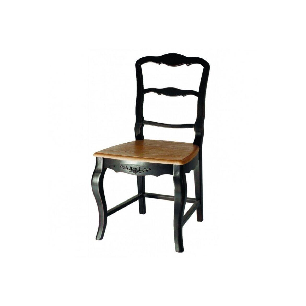Стул с деревянным сиденьем Leontina, черного цвета   Обеденные стулья Kingsby