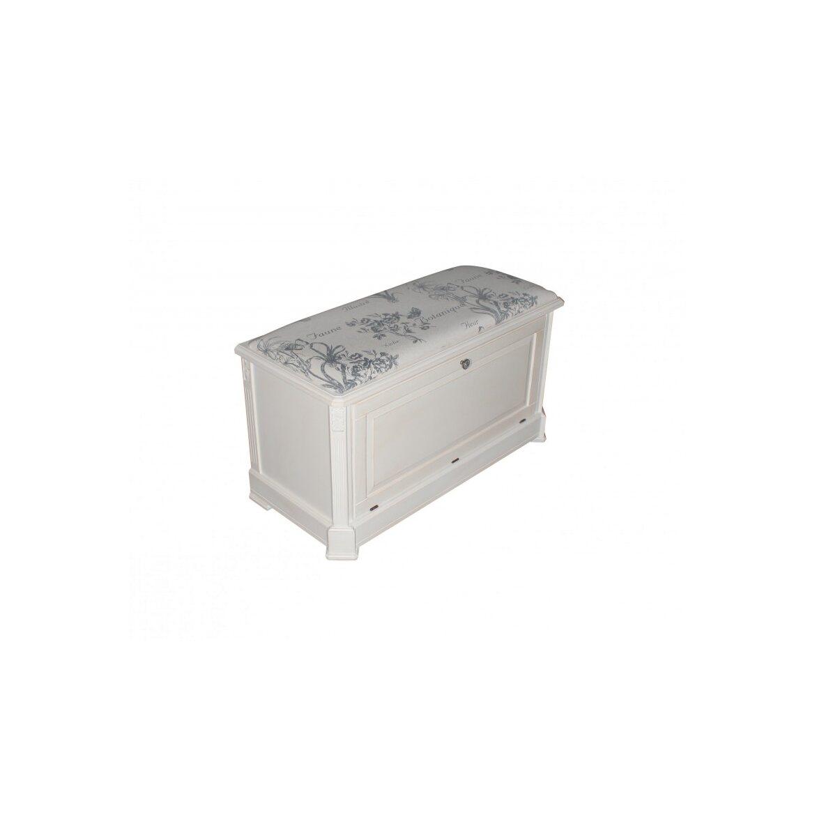Ящик — сундук — пуфик с мягким сиденьем белый с гобеленовой тканью ST9393 А(белый) | Пуфы Kingsby