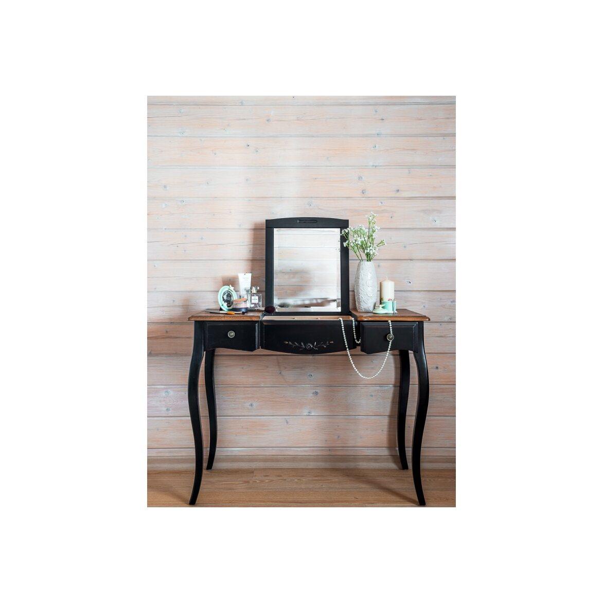 Туалетный столик с зеркалом Leontina, черного цвета 2 | Туалетные столики Kingsby