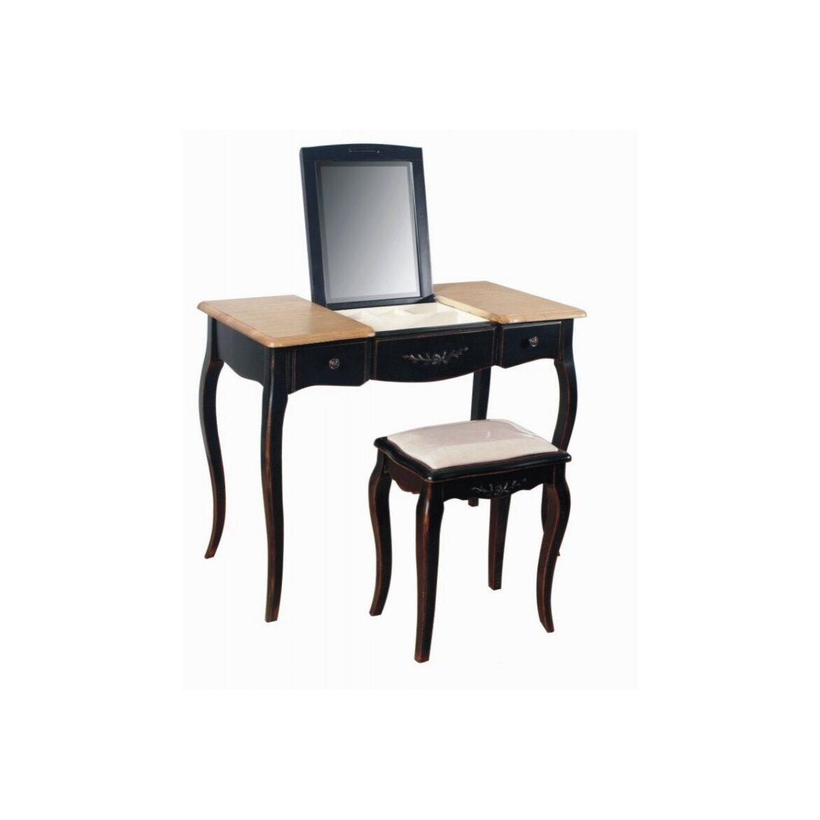 Туалетный столик с зеркалом Leontina, черного цвета 5 | Туалетные столики Kingsby