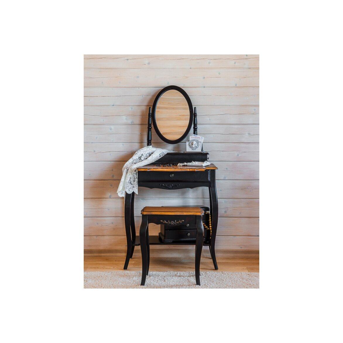 Туалетный столик с овальным зеркалом Leontina, черного цвета 6 | Туалетные столики Kingsby