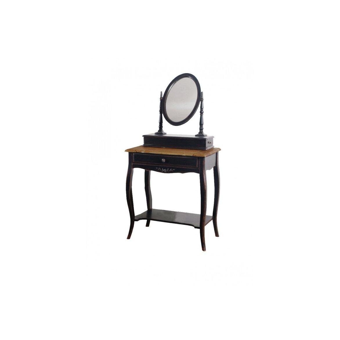 Туалетный столик с овальным зеркалом Leontina, черного цвета | Туалетные столики Kingsby