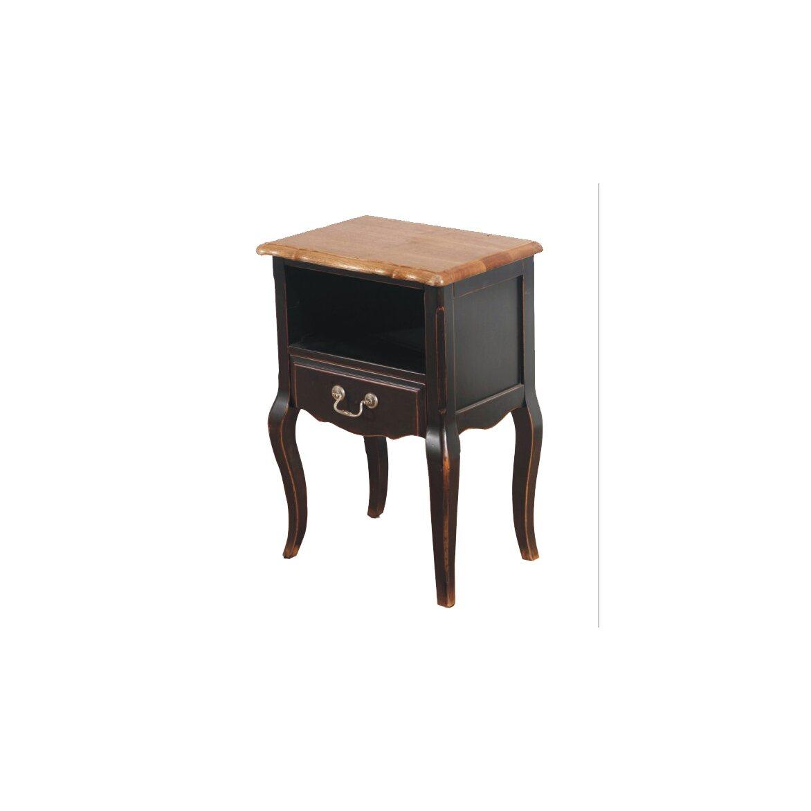 Прикроватная тумба с ящиком и полкой Leontina, черного цвета | Прикроватные тумбы Kingsby