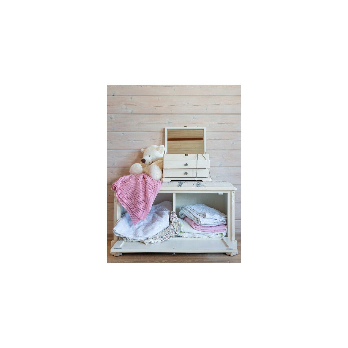 Ящик — сундук — пуфик с мягким сиденьем белый с гобеленовой тканью ST9393 А(белый) 2 | Пуфы Kingsby
