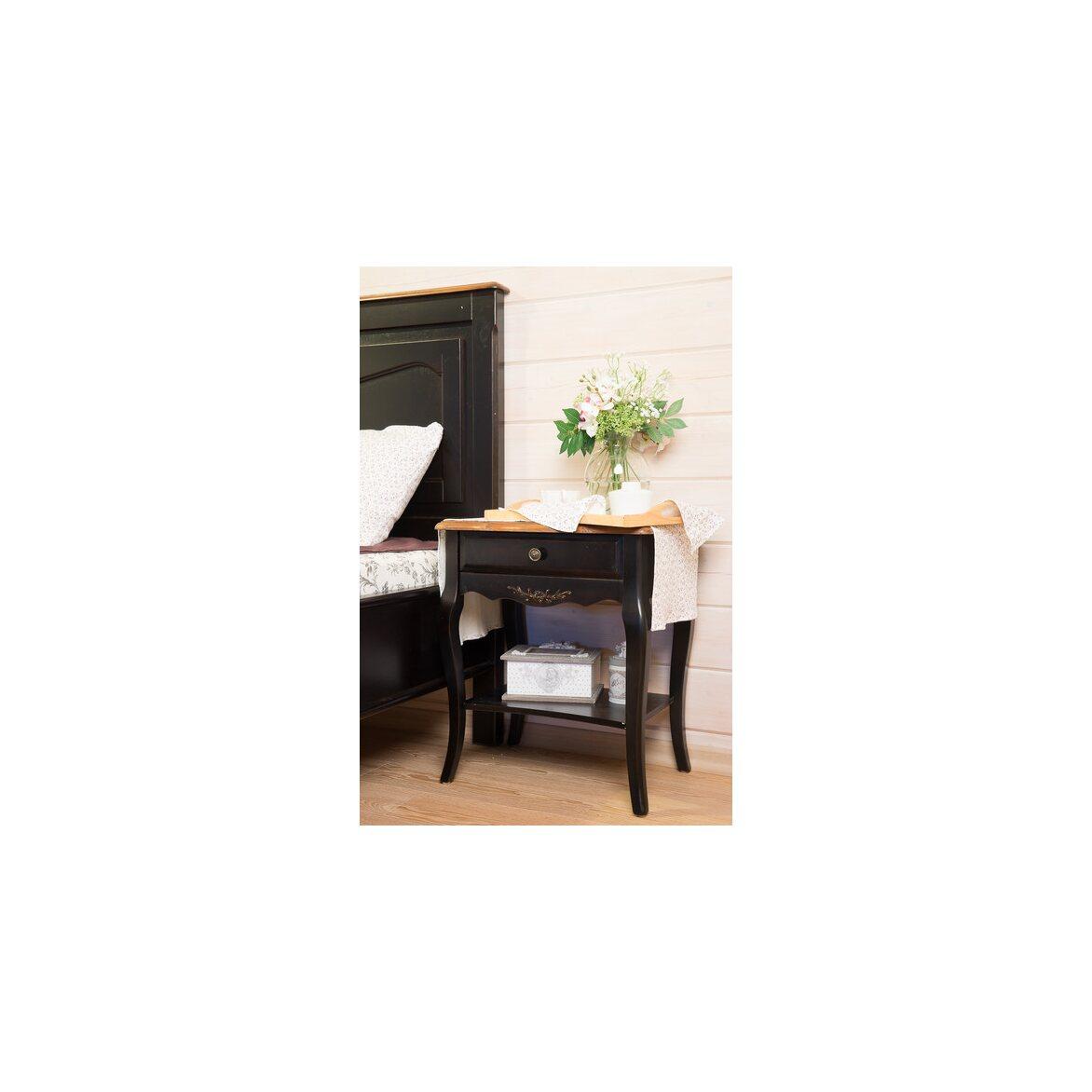 Прикроватная тумба с ящиком и полкой Leontina, черного цвета 2 | Прикроватные тумбы Kingsby