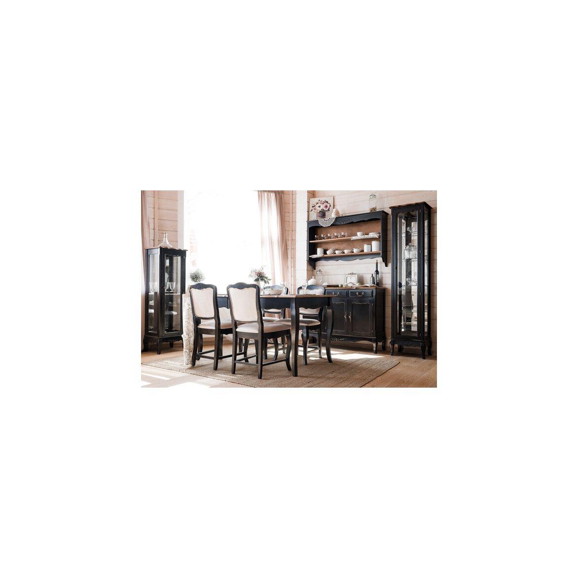 Стеклянная витрина на 4 полки (высокая) Leontina, черного цвета 2 | Витрины Kingsby