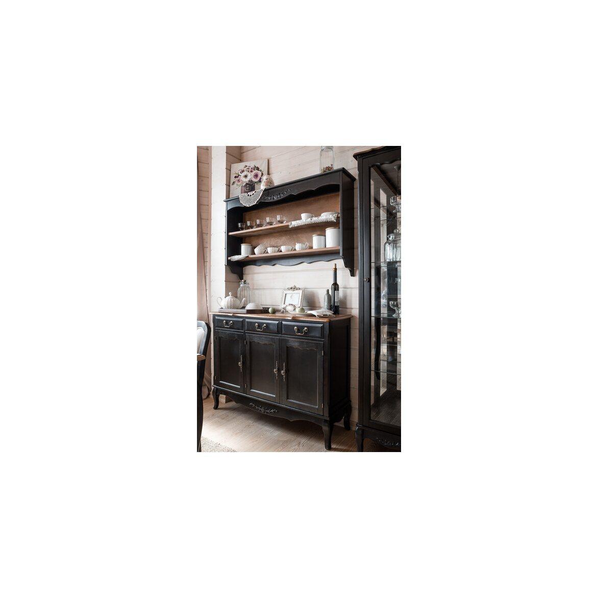 Буфет трехстворчатый с 3-я ящиками Leontina, черного цвета 3 | Буфеты Kingsby
