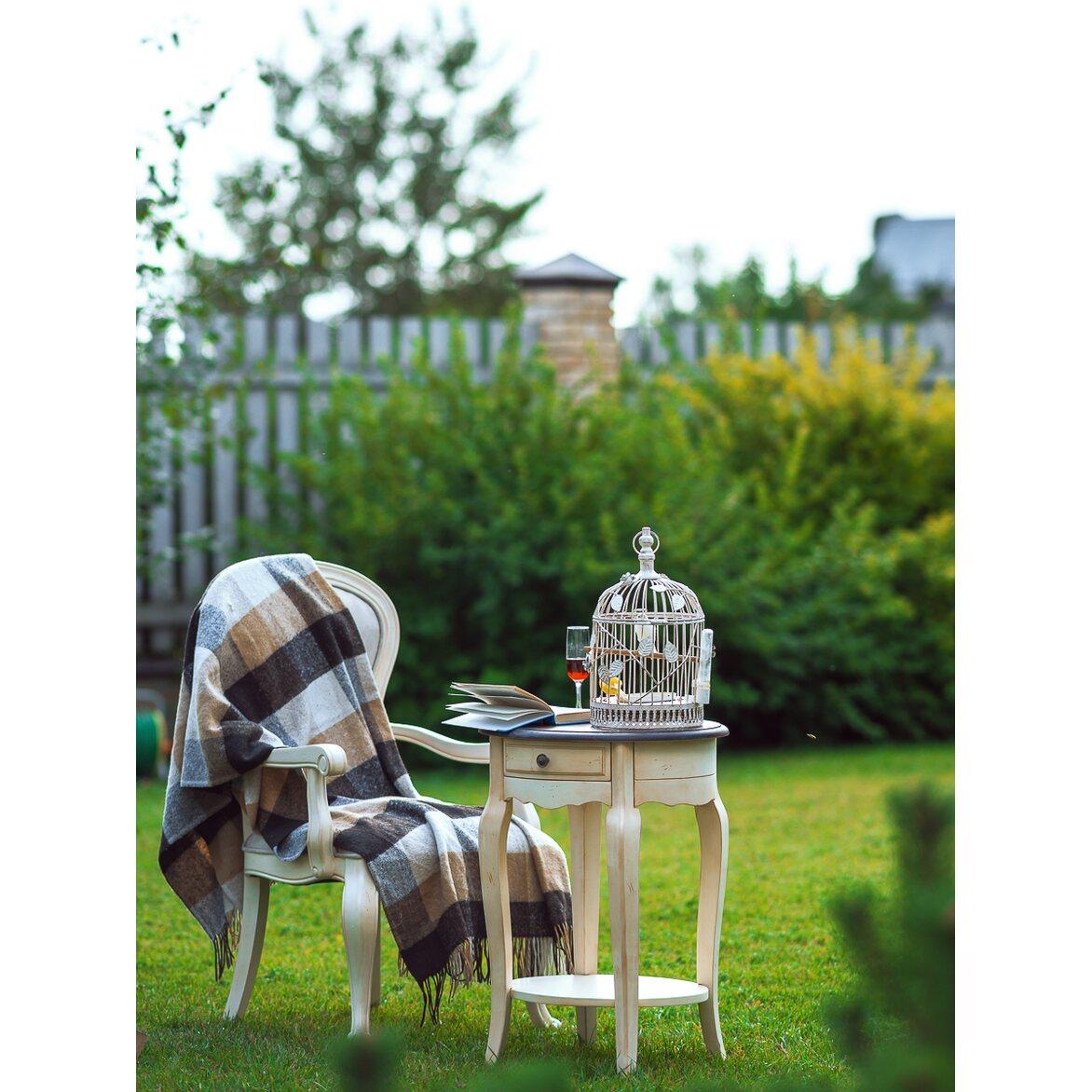 Прикроватная тумба овальная (приставной столик) Leontina, бежевого цвета 2 | Прикроватные тумбы Kingsby