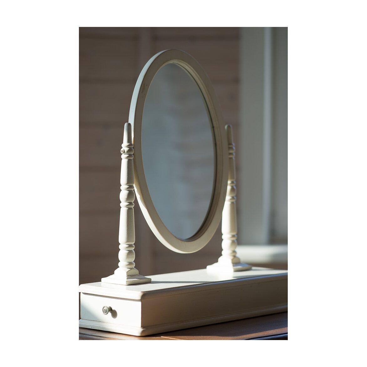 Туалетный столик с овальным зеркалом Leontina, бежевого цвета 4   Туалетные столики Kingsby