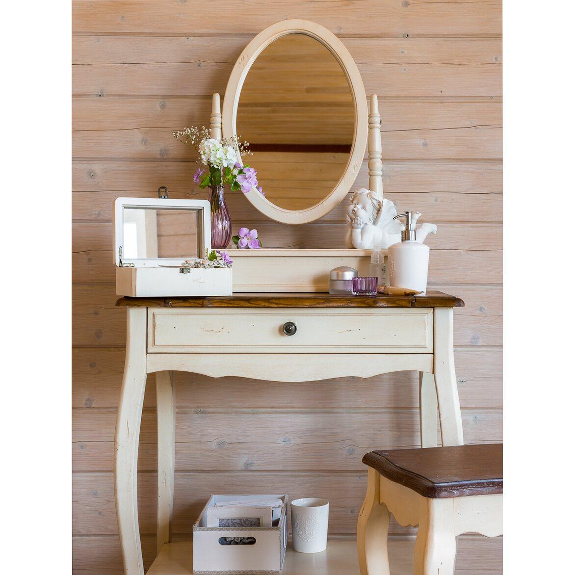 Туалетный столик с овальным зеркалом Leontina, бежевого цвета 2   Туалетные столики Kingsby