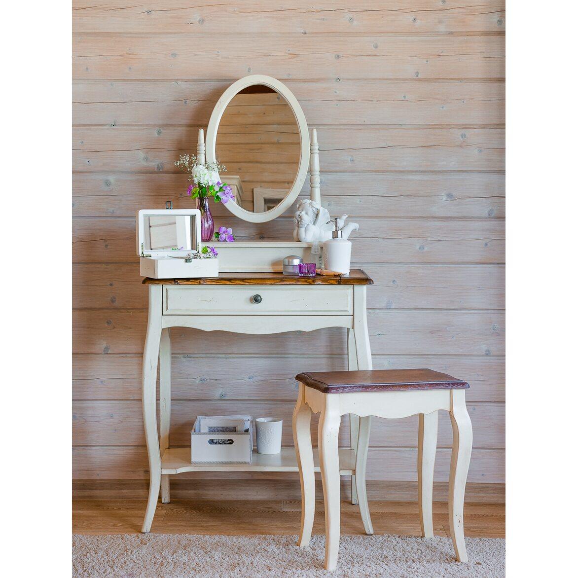 Туалетный столик с овальным зеркалом Leontina, бежевого цвета 3   Туалетные столики Kingsby