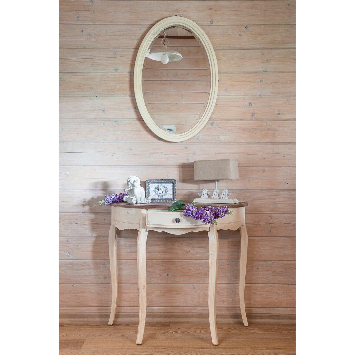 Овальное зеркало Leontina, бежевого цвета 2 | Настенные зеркала Kingsby