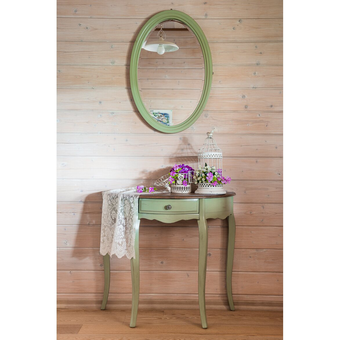 Овальная консоль с ящиком (без зеркала) Leontina, зеленого цвета | Консоли Kingsby