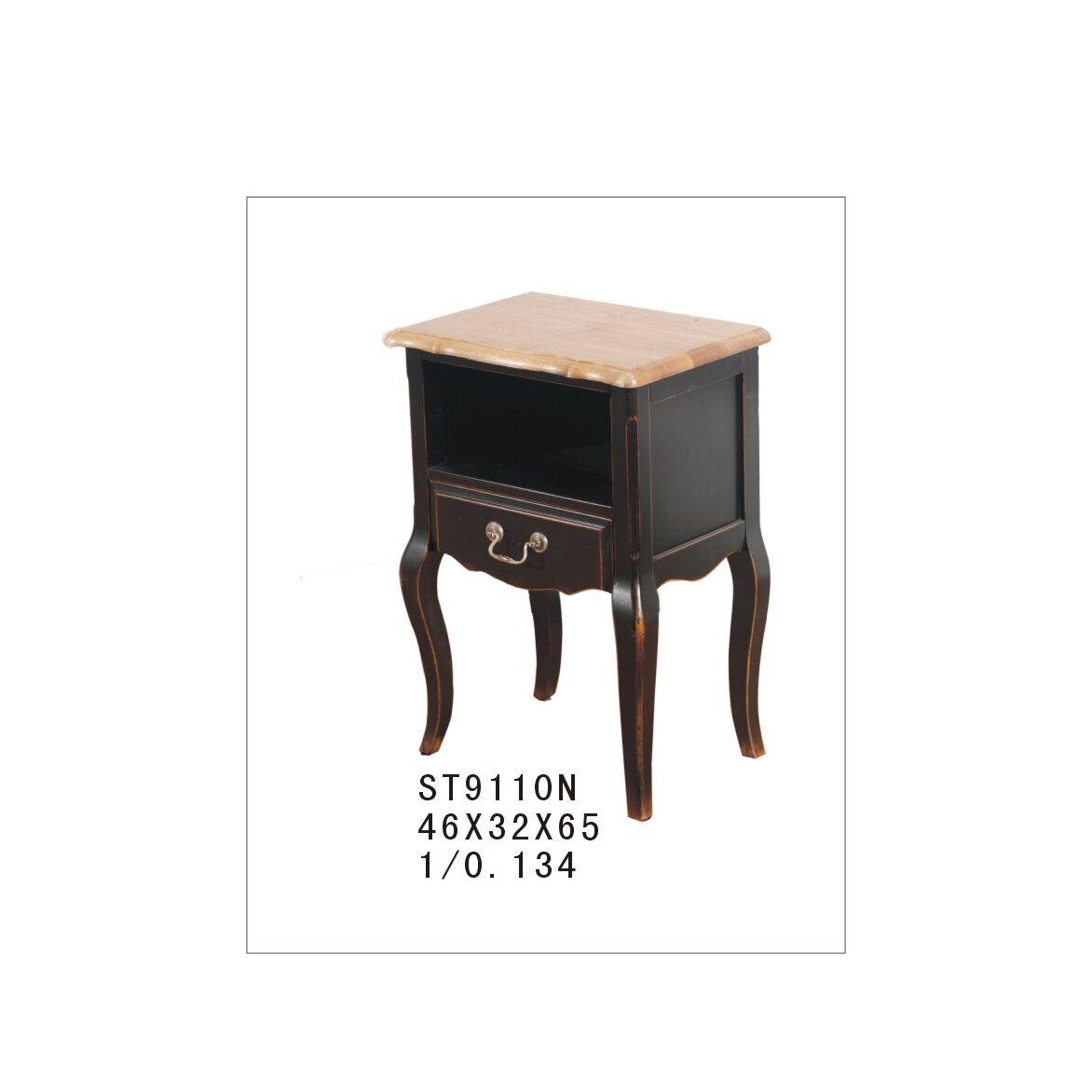 Прикроватная тумба с ящиком и полкой Leontina, черного цвета 4 | Прикроватные тумбы Kingsby