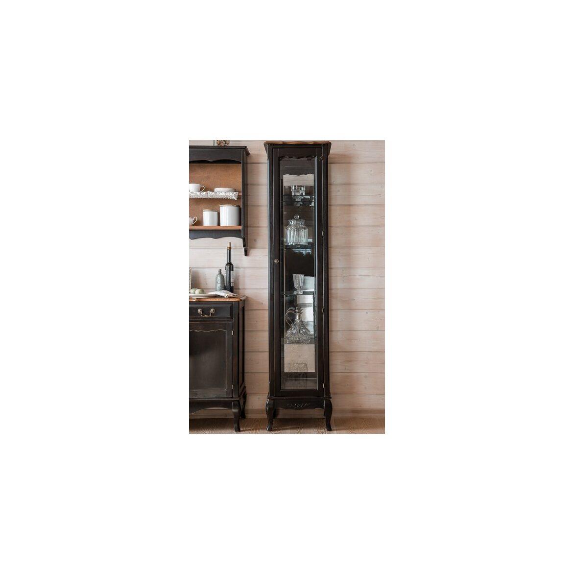 Стеклянная витрина на 4 полки (высокая) Leontina, черного цвета 4 | Витрины Kingsby