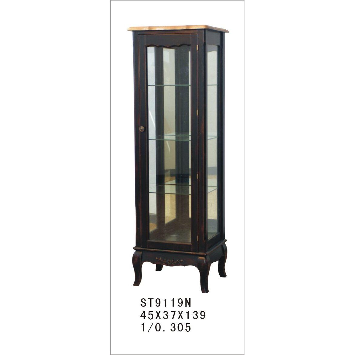 Стеклянная витрина на 3 полки (низкая) Leontina, черного цвета 5 | Витрины Kingsby