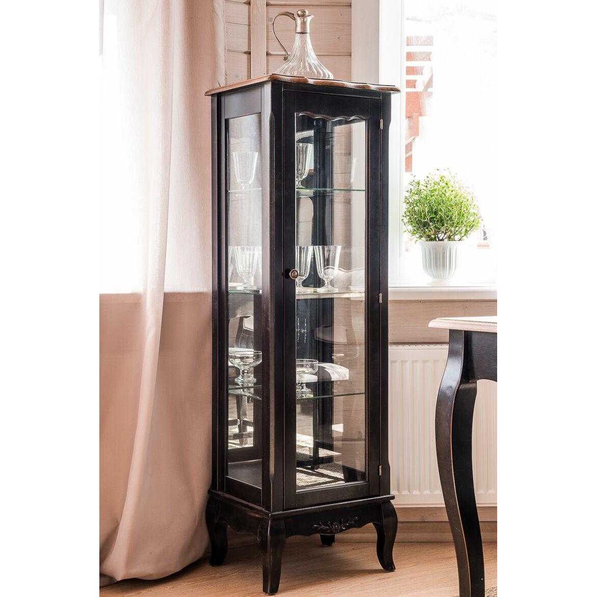 Стеклянная витрина на 3 полки (низкая) Leontina, черного цвета 4 | Витрины Kingsby