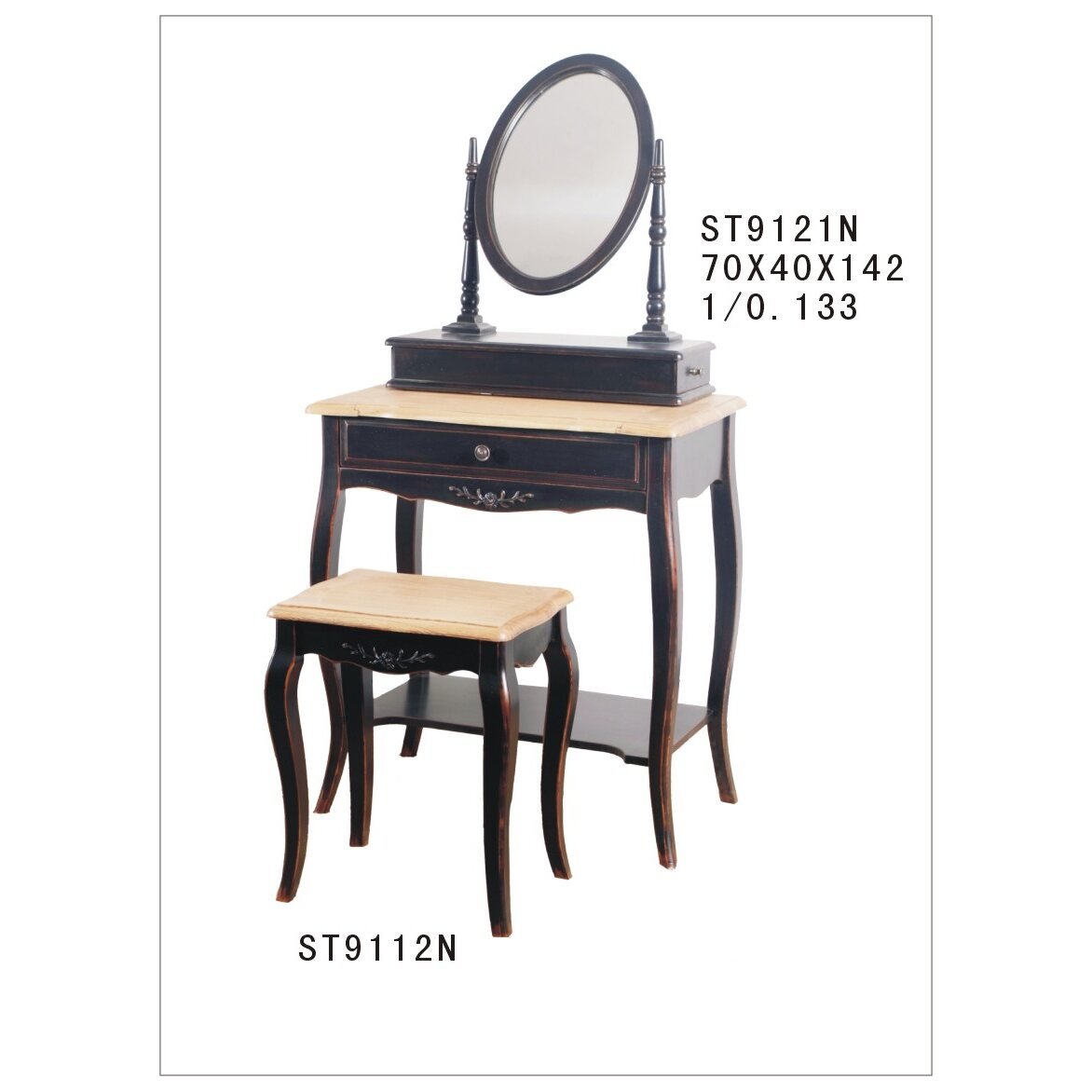 Туалетный столик с овальным зеркалом Leontina, черного цвета 5 | Туалетные столики Kingsby