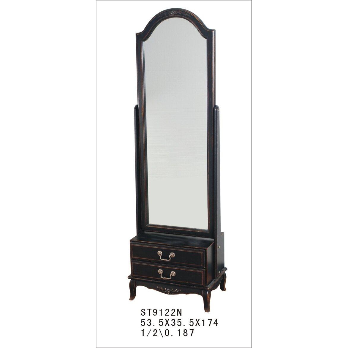Большое напольное зеркало Leontina, черного цвета 3 | Прямоугольные зеркала Kingsby