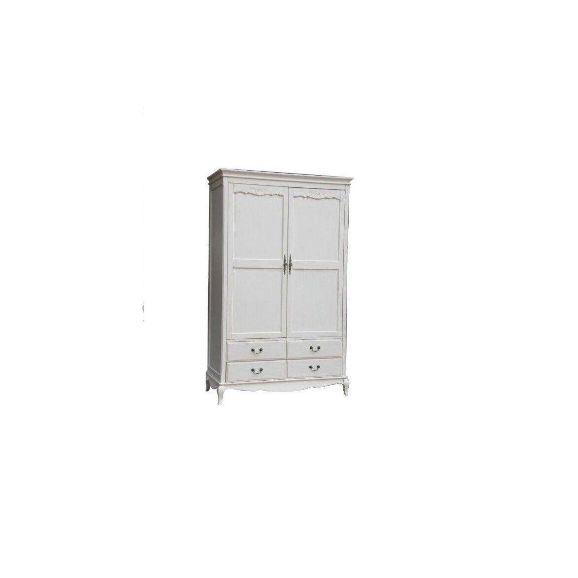 Шкаф двухстворчатый с 4-я ящиками Leontina, бежевого цвета 2 | Платяные шкафы Kingsby