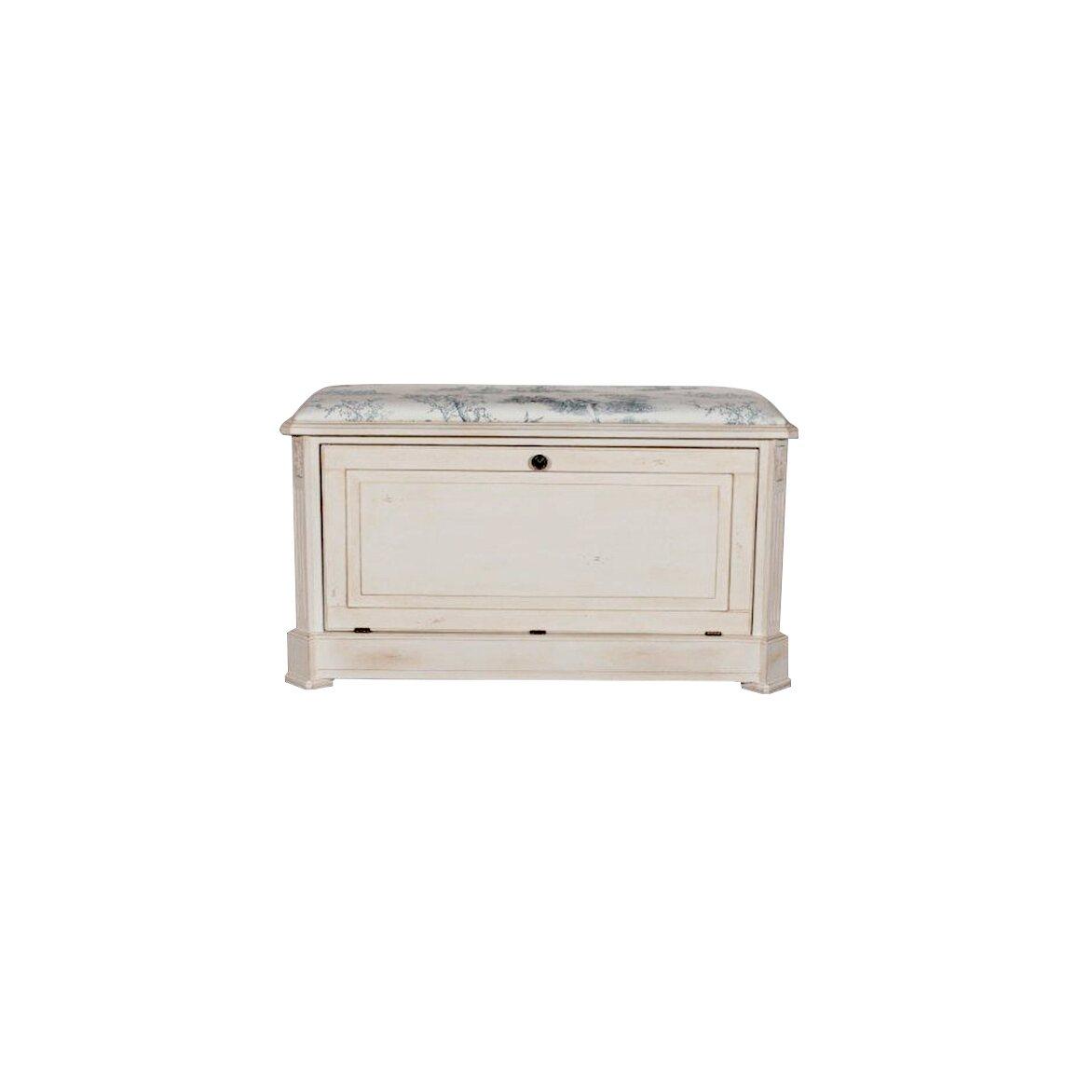 Сундук-пуфик с мягким сиденьем с гобеленовой тканью, белого цвета 2 | Пуфы Kingsby