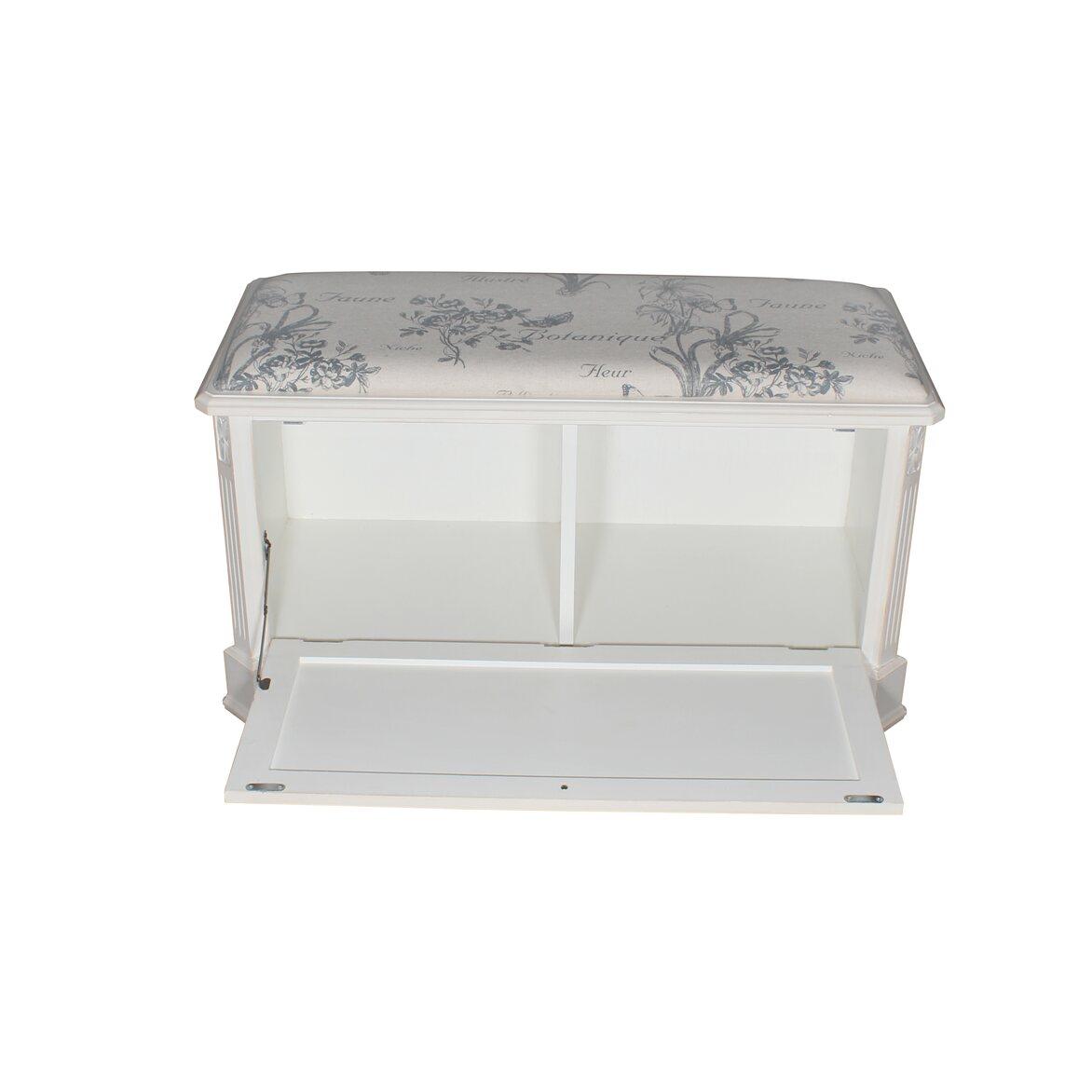 Сундук-пуфик с мягким сиденьем с гобеленовой тканью, белого цвета 3 | Пуфы Kingsby