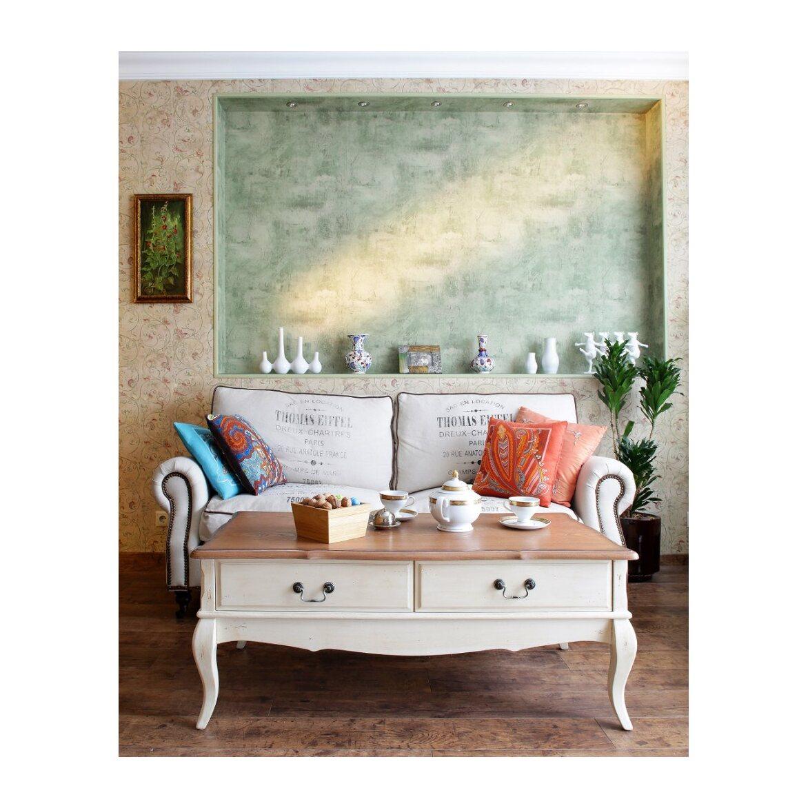 Чайный столик с 2-мя ящиками Leontina, бежевого цвета 3 | Журнальные столики Kingsby