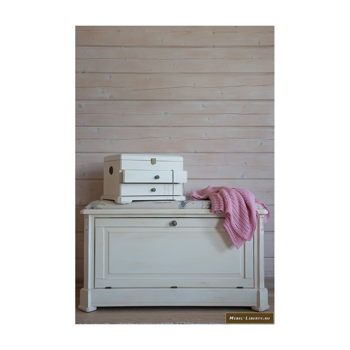 Сундук-пуфик с мягким сиденьем с гобеленовой тканью, белого цвета 4 | Пуфы Kingsby