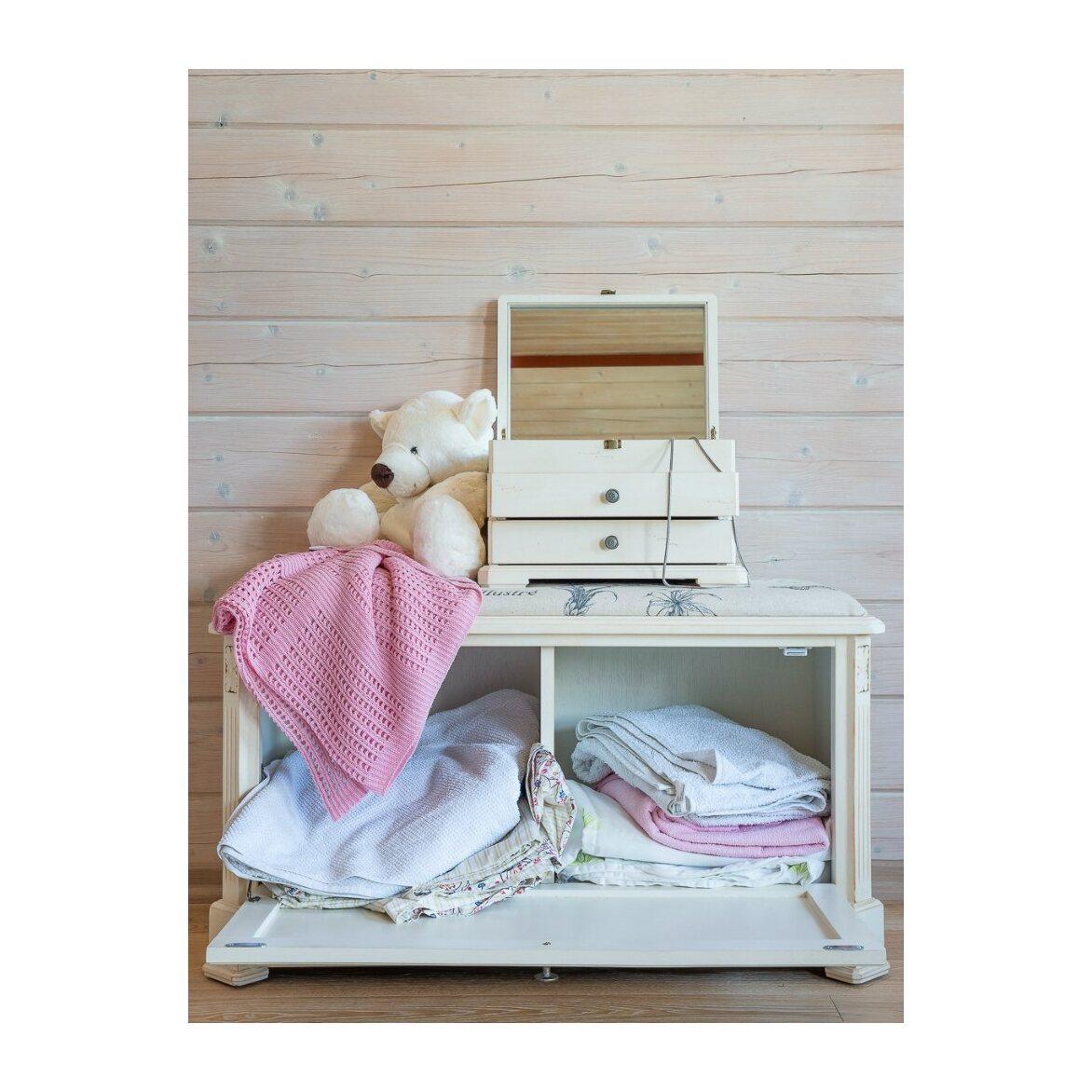 Сундук-пуфик с мягким сиденьем с гобеленовой тканью, белого цвета 5 | Пуфы Kingsby