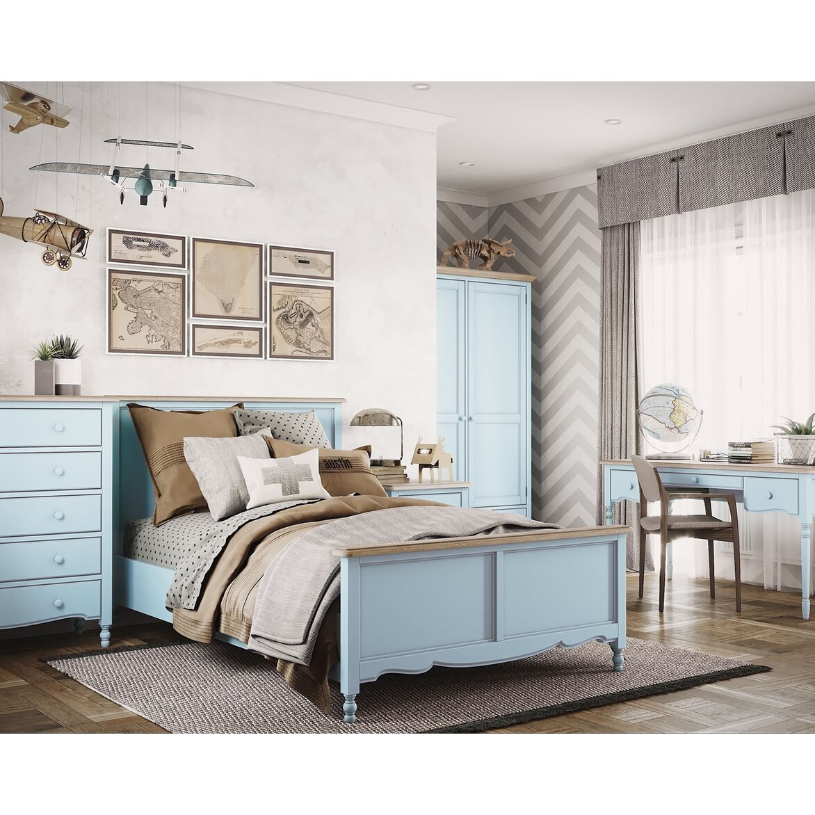 Кровать односпальная 120*200 Leblanc, голубая 2 | Односпальные кровати Kingsby